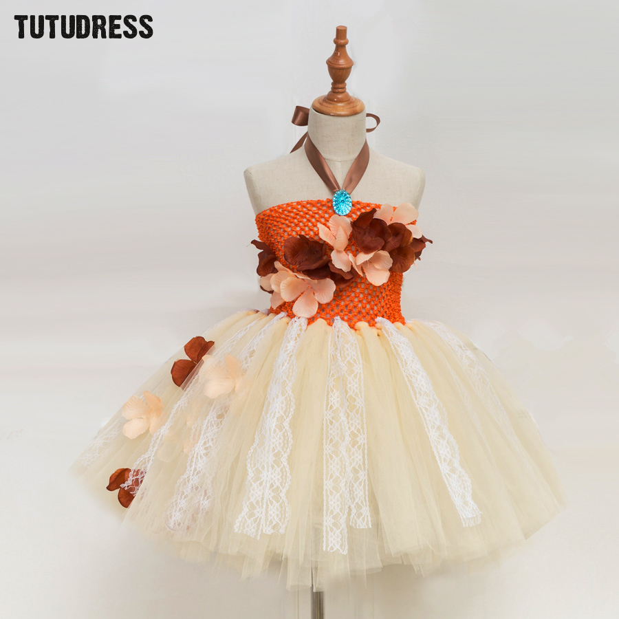 Princess Moana Tutu Dress For Girls Birthday Party Dress Up Children Lace Tulle Flower Girl Dress Kids Halloween Cosplay Costume light blue elsa dress girls princess dress kids wedding birthday party tutu dress tulle baby girl halloween cosplay elsa costume