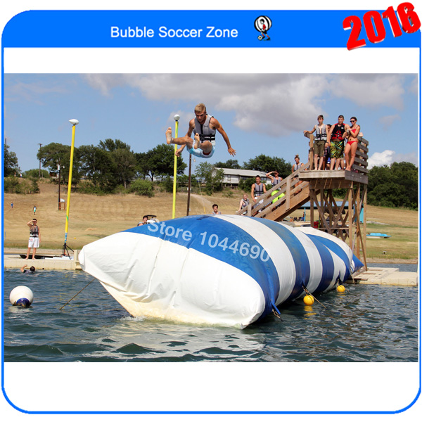 Free shipping & 0.9mm PVC Tarpaulin 8m*3m inflatable water blob /lake blob (Free pump+ repair kits) lake or ocean inflatable funny water sports game water trampoline with air pump and repair kit