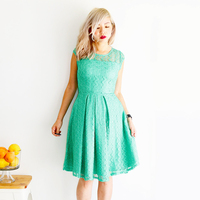 Scoop Teal Lace Bridesmaid Dresses Knee Length V Back Cap Sleeve Floral Illusion A Line