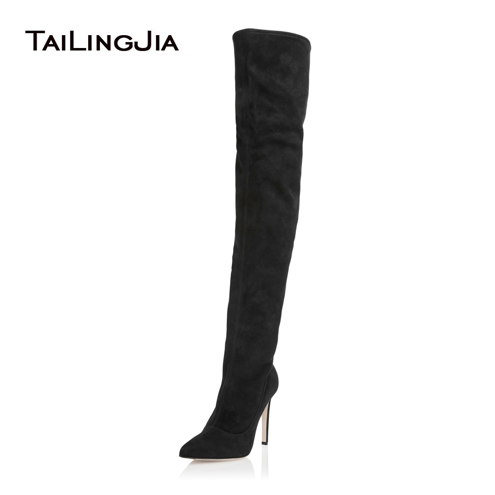 aeb179ed913 Women Pointy Toe High Heel Black Over The Knee High Boots Nude Chunky Heel  Thigh High Boots Ladies Winter Shoes Tall Botas 2018