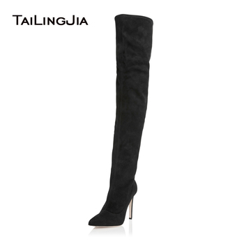 Women's Black Over The Knee High Matrix Stiletto Stretch Boots Ladies Pointed Toe Sexy Extreme High Heel Winter Shoes 2018