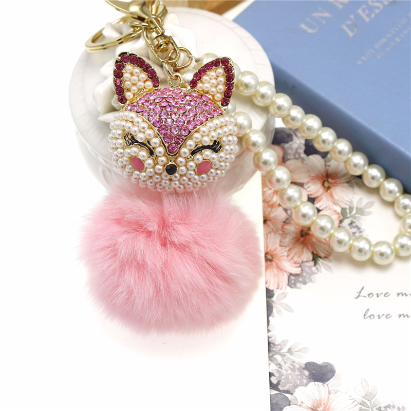 Hot sell Trendy Cute Fox Artificial Rabbit Fur Ball Pendant Keychain for Handbag Car Key Ring Jewelry