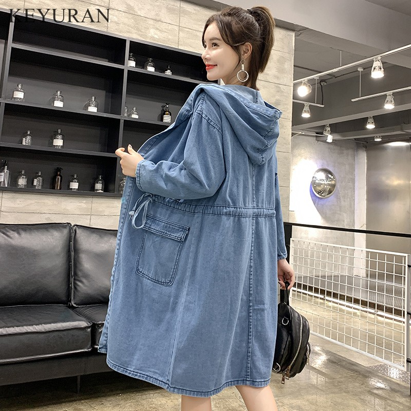2019 Spring Women Jeans Outwear Casual Denim Blue Jackets Female Long Sleeve Tops Oversized Drawstring Hooded Coat Cardigan 2858