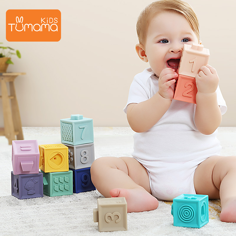 Tumama 12pcs Baby Toys Grasp Ball Building Blocks 3D Touch Hand Soft Balls Massage Rubber Teethers Squeeze Toy Bath Ball Toys