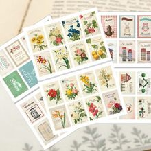 16pcs stamp shape die cuttings decorative scrapbooking sticker set little size flower plane bird fruit INS style decoration(China)