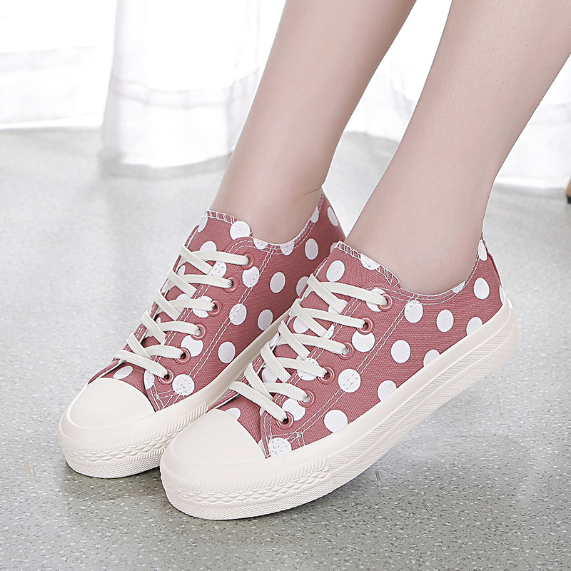 Fashion Polka Dot Canvas Shoes for Women Flats Girl White Black Pink Casual Sneakers Zapatillas mujer Size 40