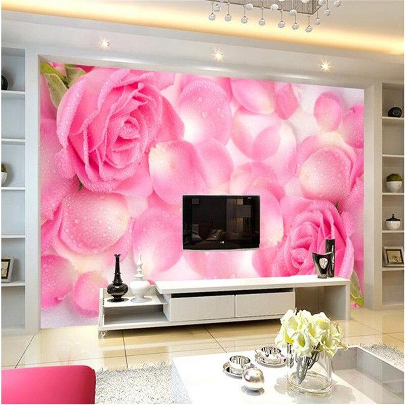 3D Wallpaper Home Decor Photo Background HD Drops Rose