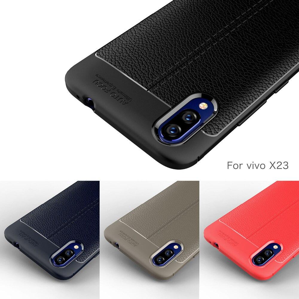 Vivo X23 Cas Silicone Antichoc Pare-chocs En Fiber De Carbone Couverture Arrière Molle Pour Vivo X23 Téléphone étui pour Vivo X23 Coque Fundas Etui