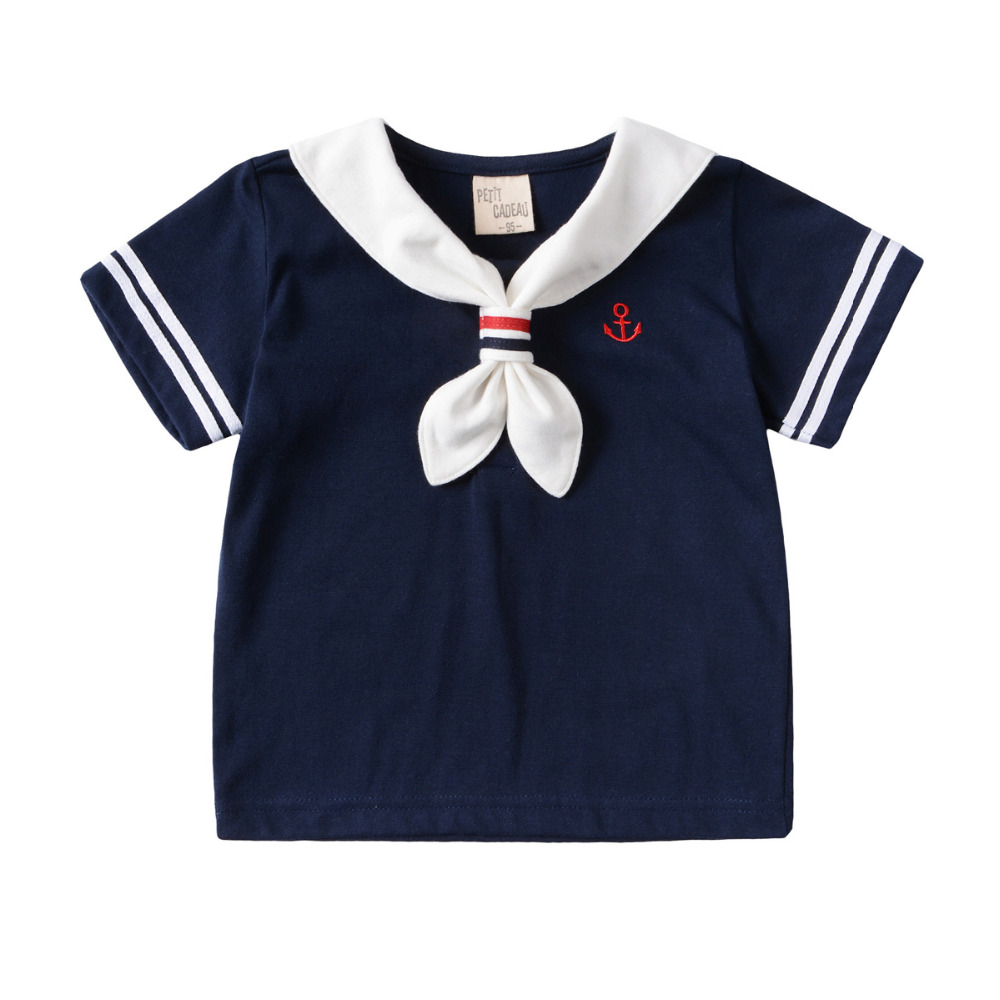 4cf23813d9305 US $5.16 40% OFF|T Shirts Baby Clothing summer new short sleeved gentleman  Navy t shirt girls boys clothes baby children Kids Tops Christmas Tee-in ...