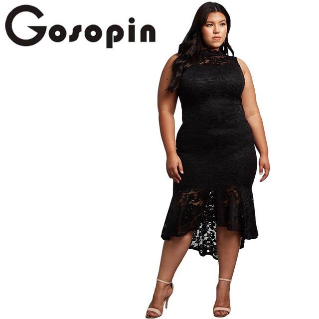 7edad9d70 Gosopin Turtleneck Lace Party Dress Plus Size Sleeveless Bodycon Elegant  Dress Autumn Summer Dresses Kleid 5xl Vestidos LC610424