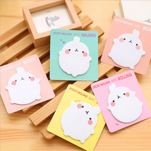 лучшая цена Cute Molang Rabbit Self-Adhesive Memo Pad Sticky Notes Sticker Label Escolar Papelaria School Office Supply