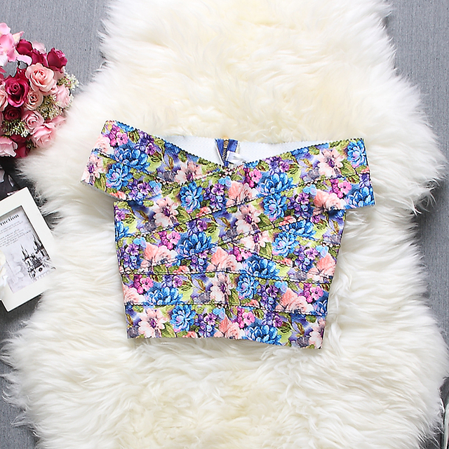 2017 Summer New Arrival Women Printed Floral Crop Top High Elastic Bandage Sleeveless Sexy Summer Tops 11 colors