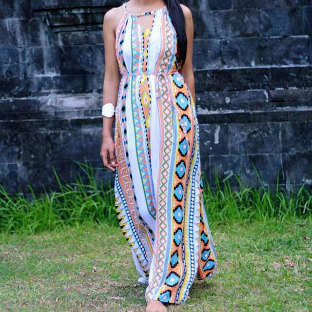 c46f580fc44 Exotic Women Tribal Floral Print Long Maxi Dress High Neck Halter Strap  Back Cut Out Oversize Aztec Boho Dashiki Tank Dresses