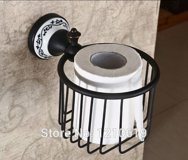Newly Solid Brass Retro Style Bathroom Toilet Paper Holder Oil Rubbed Brobze Roll Tissue Basket Paper Rack Shelf Wall Mount retro kitchen toilet paper holder roll tissue holder bathroom accessories antique brass wall mount eu stock
