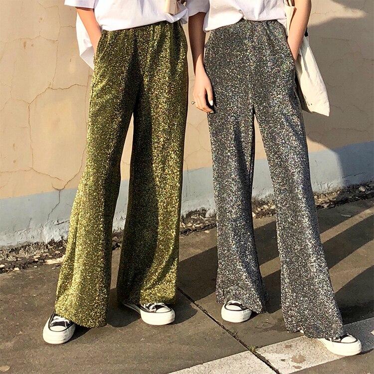 Golden Silver Wide Leg Pants Women 2019 Streetwear Fashion Shinning Elastic Waist Palazzo Pants Trousers pantalones mujer B146