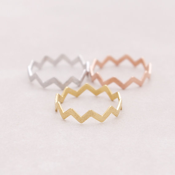 14K GOLD FILLED ZIG ZAG BAND THUMB RING