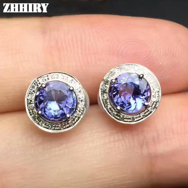Earrings Natural Blue Tanzanite Genuine Gemstone Solid 925 Sterling Silver Real