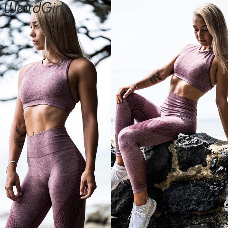 Weirdgirl New Fitness Women Sporting Two Pieces Sets Back Criss-cross Crop Tops High Waist Push Up Leggings Female Tanksuits