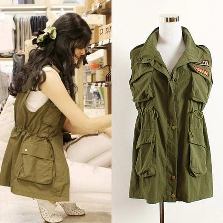 2016 women's spring and autumn fashion vest medium-long Army Green casual frock vest outerwear