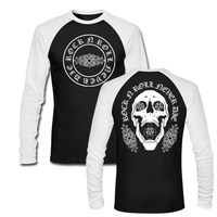 ROCK N ROLL NEVER DIE SKULL CROSS T Shirt Funny Ralgan Long Sleeve Cartoon O Neck Casual Harajuku Camisetas Brand Clothing Shirt