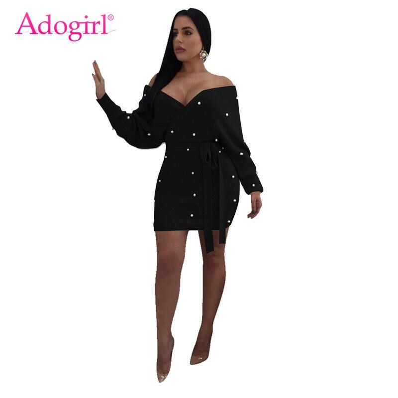 3ae1745c80d2 Adogirl Pearls Wrap V Neck Off Shoulder Bodycon Dress Women Sexy Long Sleeve  Bodycon Mini Night