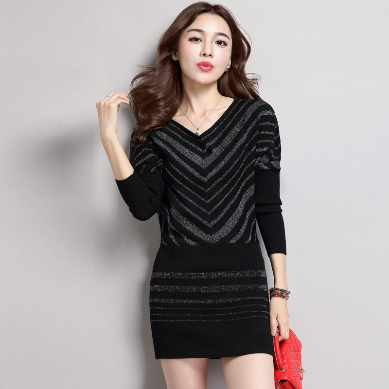 sexy v-neck autumn women dresses 2018 winter warm knitted pullover sweater dress loose women plus size vestido batwing sleeve