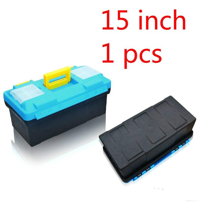 1 Pcs 15 Inch Plastic Tool Box Multifunctional Household Maintenance Tool Box Reinforced Vehicle Mounted Storage Box