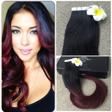Full Shine Virgin Tape in Extensions Ombre Hair Extensions Tape Balayage Extensions Color 1B 99J Ombre Two Tone Human Hair