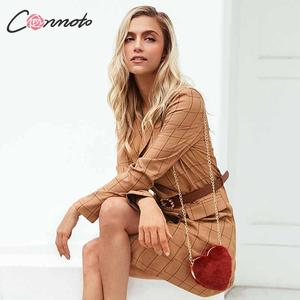 Image 3 - Conmoto Vintage Khaki Plaid Women Blazer Dress 2019 Autumn Winter Slim Long Blazer Check Office Blazer Jacket Feminino Outerwear