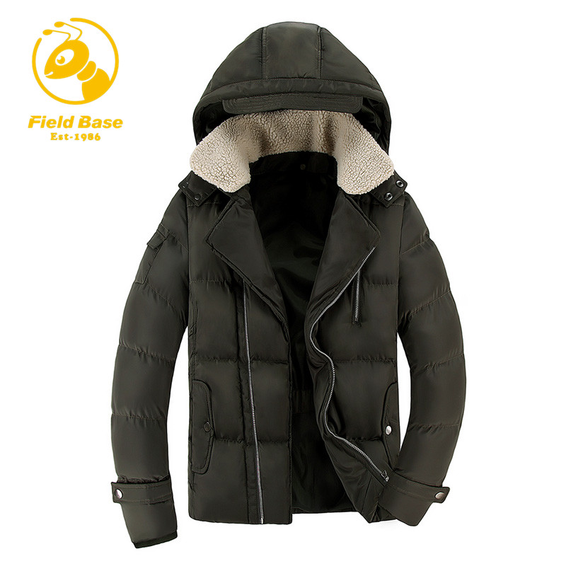 Field Base Men Winter  Parkas Casual New Hooded Thick Padded Jacket Zipper Slim Men Coats Men Parka Outwear Warm Male Jackets qazxsw 2017 new winter cotton coats women hooded jackets slim long parkas for girl thick padded warm casual outwear jacket hb333