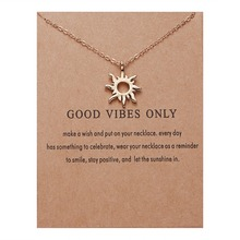 Rinhoo, модное ожерелье от солнца, s& Кулоны, золотой цвет, сплав, подвеска, ожерелье, карта желаний, ювелирное изделие для женщин, девушек, ювелирное изделие, подарок на день рождения