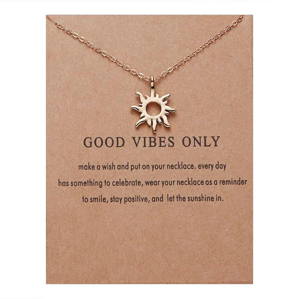 Rinhoo Fashion Gold-color Good Vibes Only Sun Necklaces & Pendants For Women Jewelry Christmas Gift