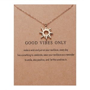 Rinhoo Fashion Sun Necklaces & Pendants Gold Color Alloy Pendant Necklace Wish Card Jewelry For Women Girl Jewelry Birthday Gift