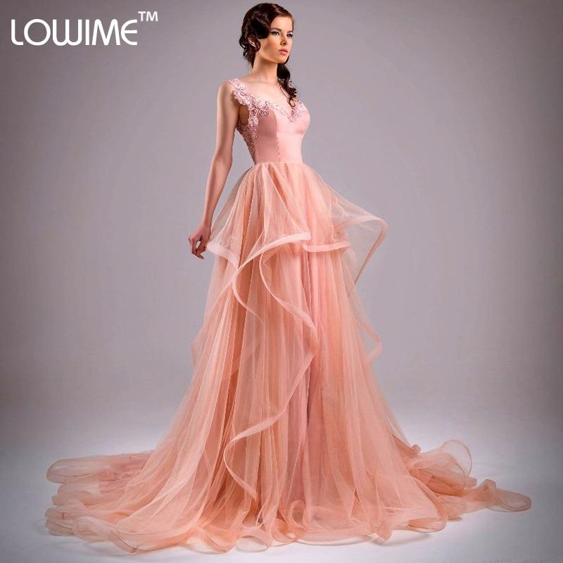 Vestido de Festa 2015 largo de la piel rosada de Tulle Backless ...
