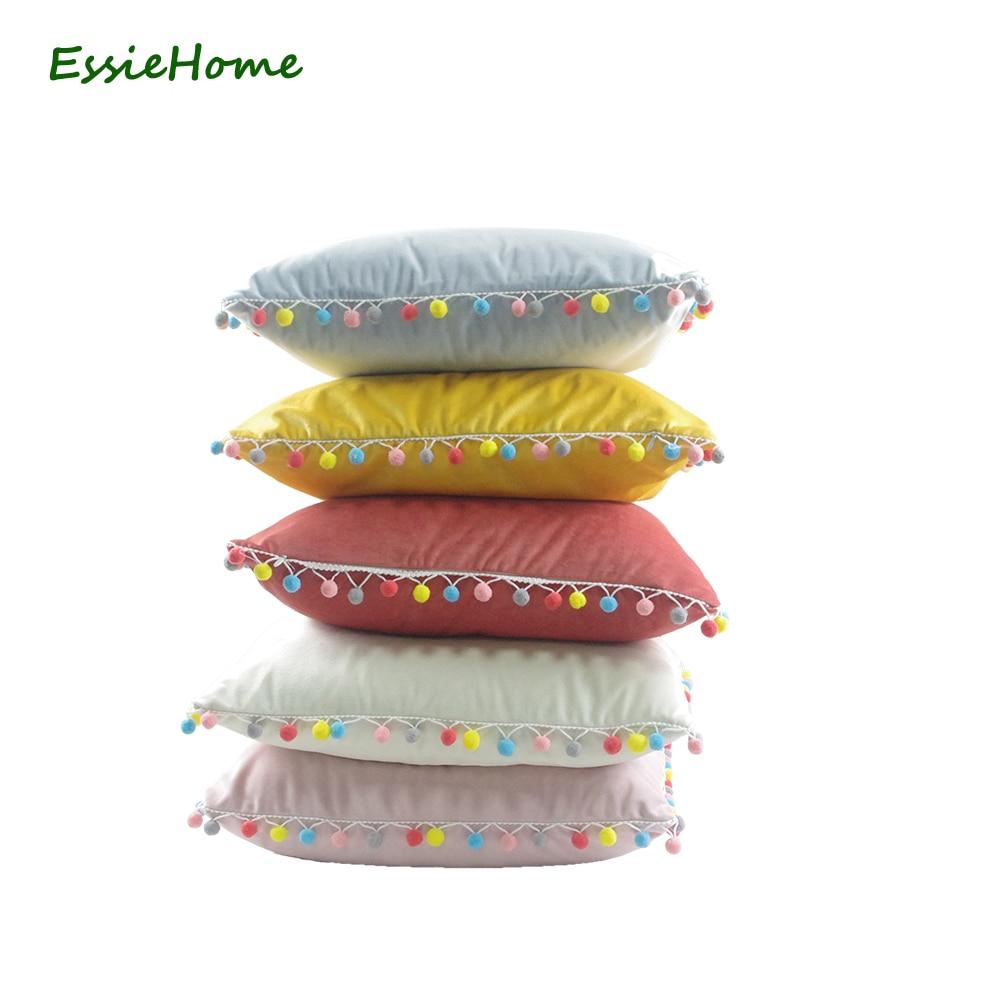 ESSIE HOME Cushion Cover Pillow Case Pink Cute Soft Velvet Pom Pom Trim Tassel Lovely Children's Room Decoration