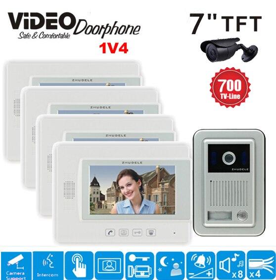 """ZHUDELE 7"""" TFT Wired Video Door Phone Intercom Security ..."""