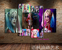 Harley Quinn 4 Pieces Canvas Painting Print Living Room Home Decor Modern Wall Art Oil Painting