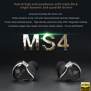 Image 2 - HIDIZS Hybrid Driver (3 Knowles BA+1 DD) MS4 HIFI In Ear Earphone IEM with 2 Pin 0.78mm Detachable Cable