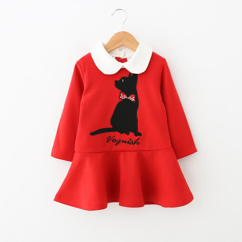 Clearance sale kids girls dress autumn clothing baby cotton dresses for girl children cartoon cat 5T fashion Casual costume