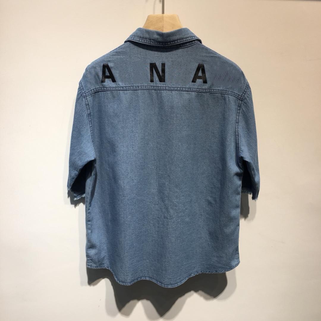 Imprimé lettre coton lavé Denim à manches courtes chemise Blouse femmes grande taille hauts mode coréenne vêtements Blousees femmes