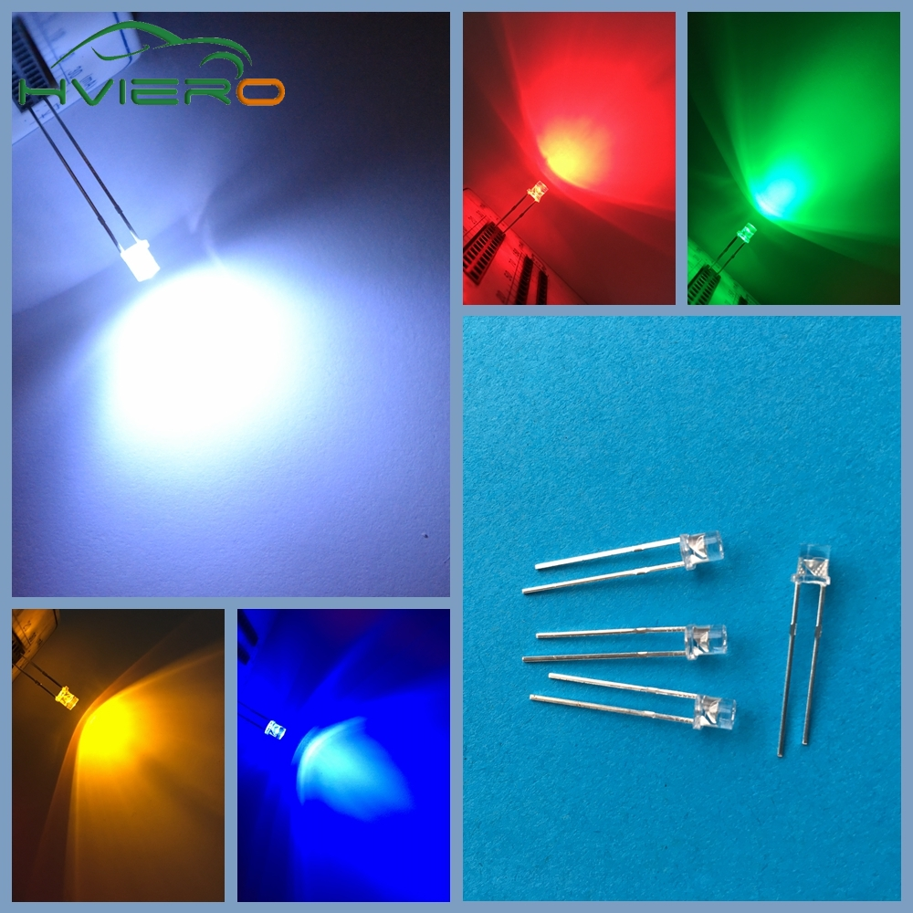 500pcs LED 3mm Ultra Bright Flat top Head white red blue orange UV pink Diode bulb Wide Angle light emitting lamp Diodes Led