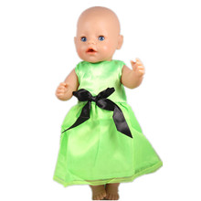 2017 New Popular Style 43cm Baby Born Zapf Doll Clothes Fashion Green Princess Dress Outfit