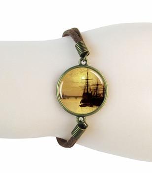 vintage sunset  bracelet  sailing bracelets bangles ocean bangle bronze tone glass dome suede leather bracelets snaps jewelry men beaded bracelet red