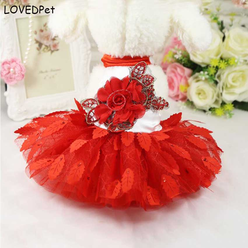 Fashion red dog clothing for small dogs dresses doggy summer chihuahua dress princess skirt for little dog pet product S M L