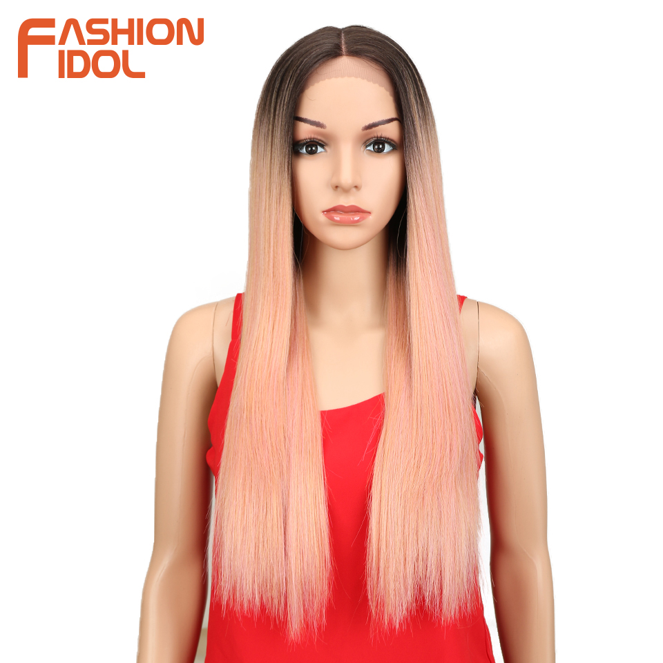 FASHION IDOL Synthetic Hair Lace Front Wig 26 Inch Long Straight Wig Ombre Black Pink Cosplay Wig Heat Resistant Synthetic Hair-in Synthetic Lace Wigs from Hair Extensions & Wigs