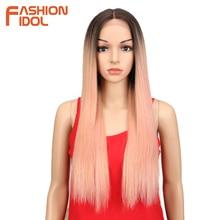 Mode idole cheveux synthétiques dentelle avant perruque 26 pouces longue droite perruque Ombre noir rose Cosplay perruque résistant à la chaleur cheveux synthétiques