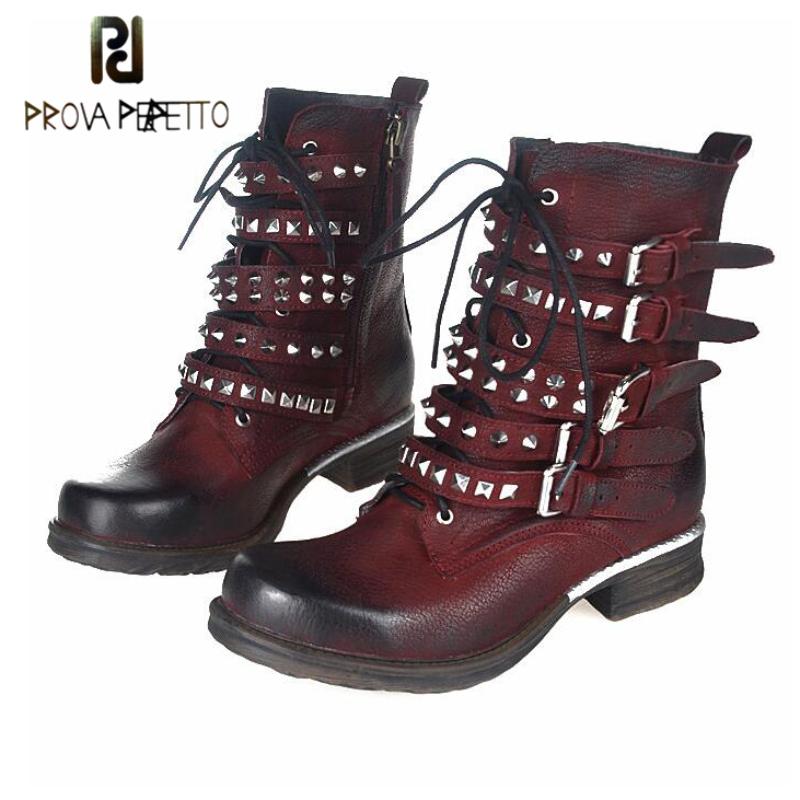 Prova Perfetto Genuine Leather Thick Heel Women Short Boots Buckle Belt With Rivet Studded Martin Shoes Knight Boots prova perfetto fashion round toe low heel mid calf boots feminino buckle belt thick bottom genuine leather women s martin boots