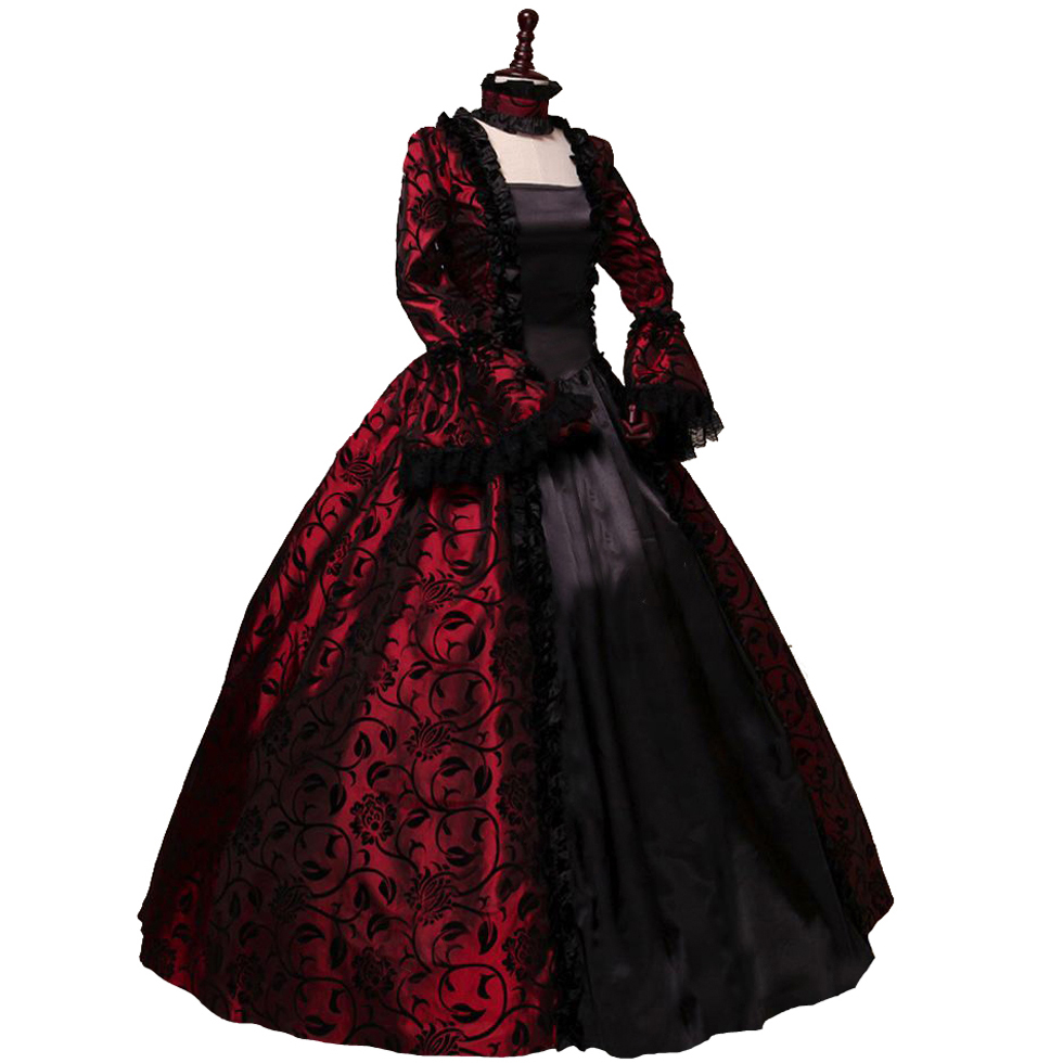 Victorian Gothic Georgian Period Dress Halloween Masquerade Ball Gown - Disfraces