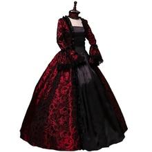 Купить с кэшбэком Victorian Gothic Georgian Period Dress Halloween Masquerade Ball Gown Reenactment Clothing