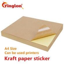 Бесплатная доставка 50 шт/лот a4 коричневый крафт бумага наклейки